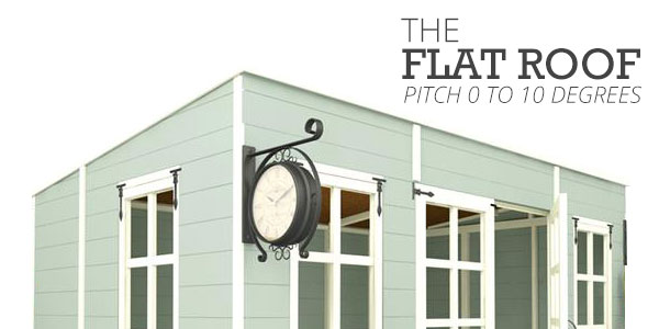 Flat Roof 0-10 degrees pent roof shed with clock