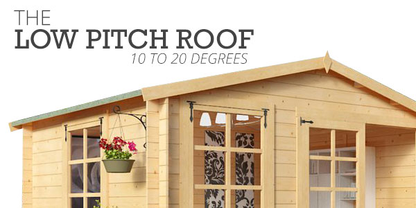 The low pitch roof 10-20 degrees with apex shed with hanging plant